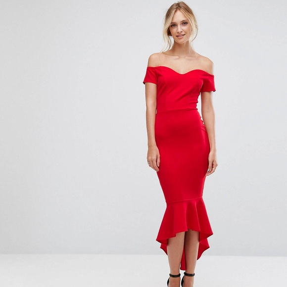 873f968e9a ASOS Dresses   Skirts - ASOS John Zack Petite Off Shoulder Ruffle Dress